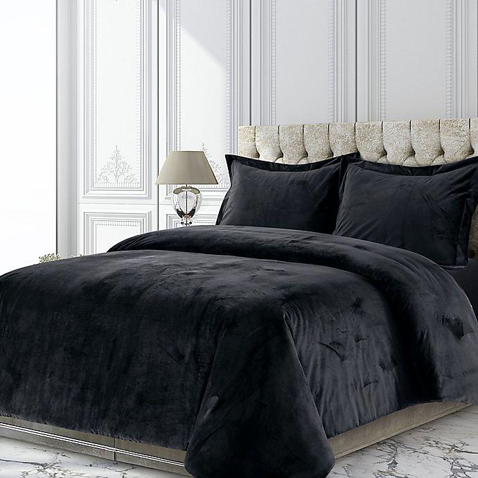 Alternate image 1 for Tribeca Living Venice 2-Piece Velvet Twin Duvet Cover Set in Black