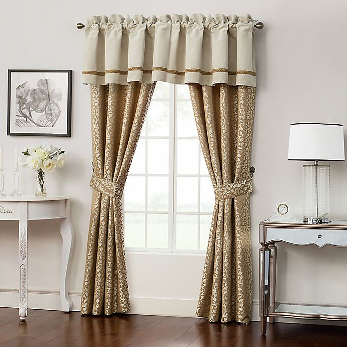 Alternate image 1 for Waterford® Ansonia Pole Top Tailored Window Valance in Ivory