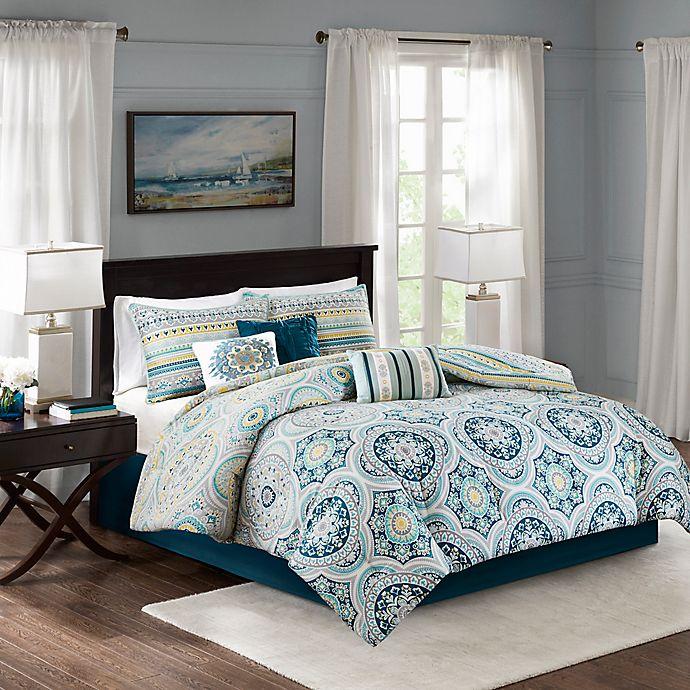 Alternate image 1 for Madison Park Mercia Reversible King Comforter Set in Navy