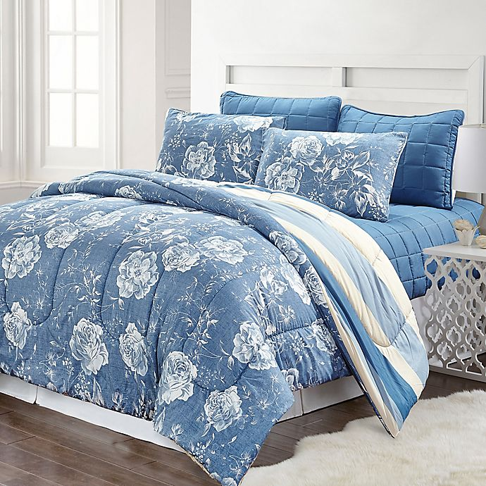 Alternate image 1 for Pacific Coast Textiles Blair Striped 6-Piece Comforter Set in Blue