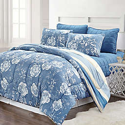 Pacific Coast Textiles Blair Striped 6-Piece Comforter Set in Blue