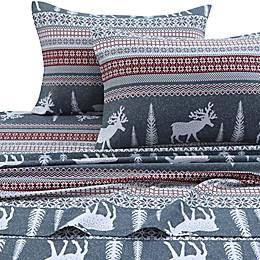 Tribeca Living 170 GSM Winter Reindeer Flannel Sheet Set