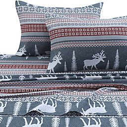 Tribeca Living 170 GSM Winter Reindeer Flannel Twin XL Sheet Set in Red/Grey