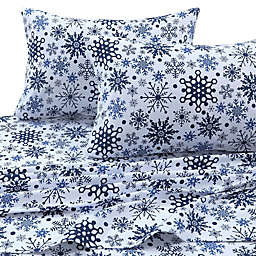 Tribeca Living 170 GSM Snowflakes Flannel California King Sheet Set in Blue