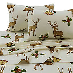 Tribeca Living 170 GSM Holiday Reindeer Flannel Sheet Set
