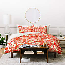 Deny Designs Jenean Morrison Leave Me Be 2-Piece Twin Duvet Cover Set in Orange