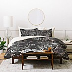 Deny Designs Pattern State Floral Charcoal Queen Duvet Cover Set