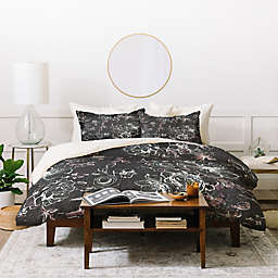 Deny Designs Pattern State Floral Charcoal Duvet Cover Set