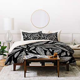 Deny Designs Heather Dutton Feathers 3-Piece Queen Duvet Cover Set in Black