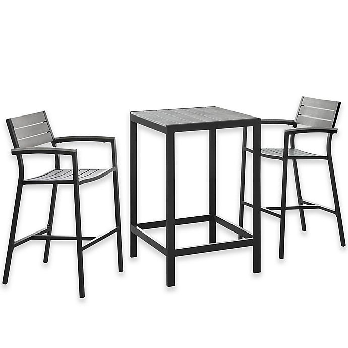 Alternate image 1 for Modway Maine Outdoor 3-Piece Patio Bar Set in Grey/Brown