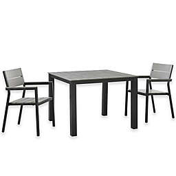Modway Maine Outdoor 3-Piece 40-Inch Patio Dining Set in Grey/Brown