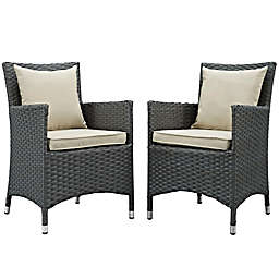 Modway Sojourn Outdoor Patio Dining Armchairs in Antique Beige (Set of 2)