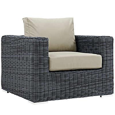 Modway Summon Outdoor Wicker Armchair in Antique Beige Sunbrella® Canvas