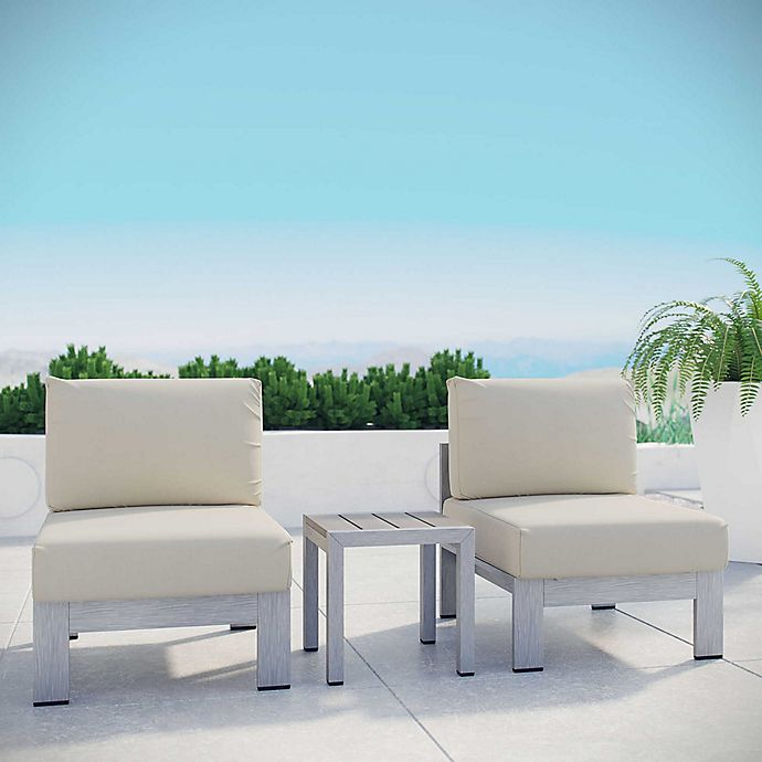 Alternate image 1 for Modway Shore 3-Piece Aluminum Patio Sectional Sofa Set in Silver/Beige