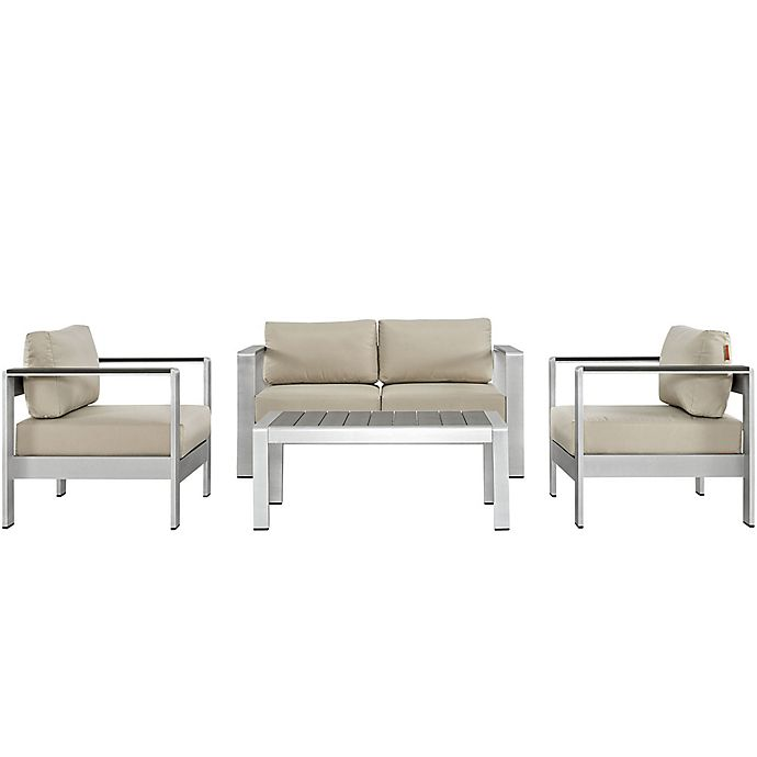 Alternate image 1 for Modway Shore 4-Piece Aluminum Patio Sectional Loveseat Set in Silver/Beige