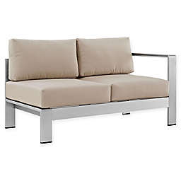 Modway Shore Right- Arm Corner Aluminum Patio Sectional Loveseat in Silver/Beige