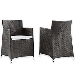 Modway Junction Wicker Outdoor Patio Armchairs in Brown/White (Set of 2)