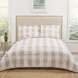 Truly Soft Buffalo Plaid Twin XL Quilt Set in Khaki