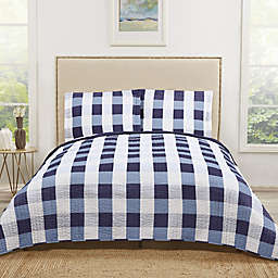 Truly Soft Buffalo Plaid Twin XL Quilt Set in Navy