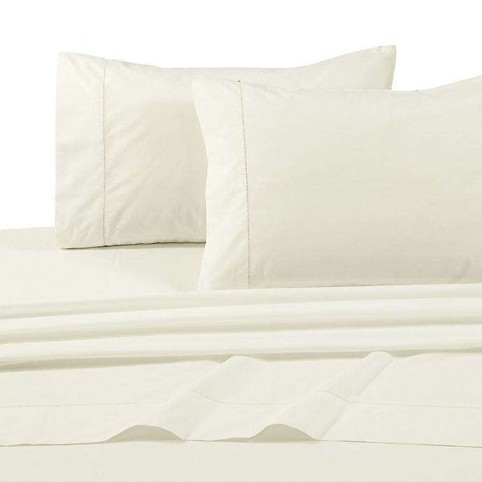 Alternate image 1 for Tribeca Living Solid 500-Thread-Count Extra Deep Pocket Queen Sheet Set in Ivory