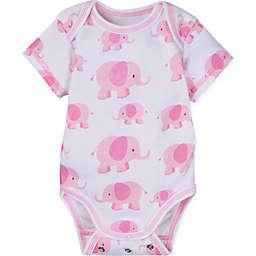 Posheez Snap'n Grow Elephant Print Short Sleeve Bodysuit in Pink