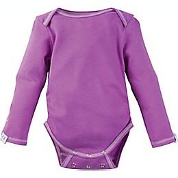 Posheez Snap'n Grow Solid Color Long Sleeve Bodysuit in Purple