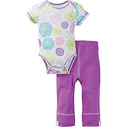 MiracleWear® Size 6-12M Posheez Snap 'n Grow Burst Short Sleeve Bodysuit and Pant Set in Purple