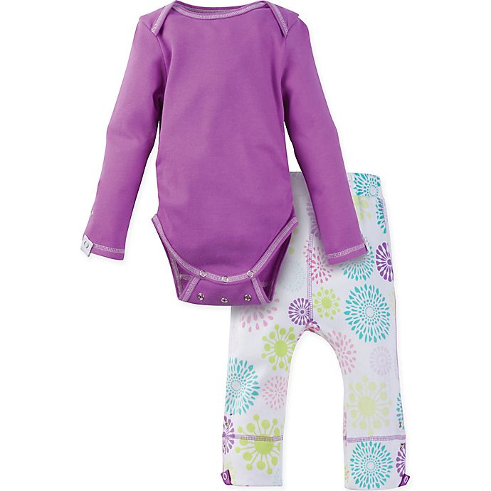 Alternate image 1 for MiracleWear® Size 12-18M Posheez Snap 'n Grow Burst Long Sleeve Bodysuit and Pant Set in Purple