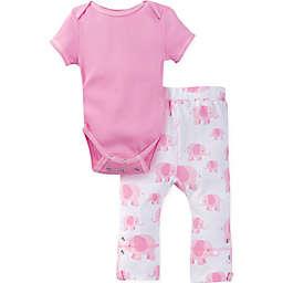 MiracleWear® Posheez Snap 'n Grow Elephant Short Sleeve Bodysuit and Pants in Pink