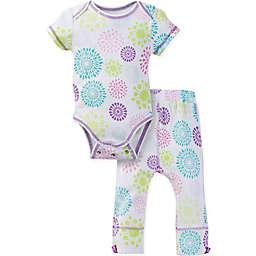 MiracleWear® Posheez Snap 'n Grow Burst Short Sleeve Bodysuit and Pant Set in Purple