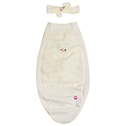 Cozy Cocoon® Blossoms and Lace Swaddle and Hat Set in Ivory
