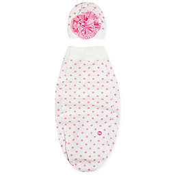 Cozy Cocoon® Dots and Flowers Swaddle and Hat Set in Pink