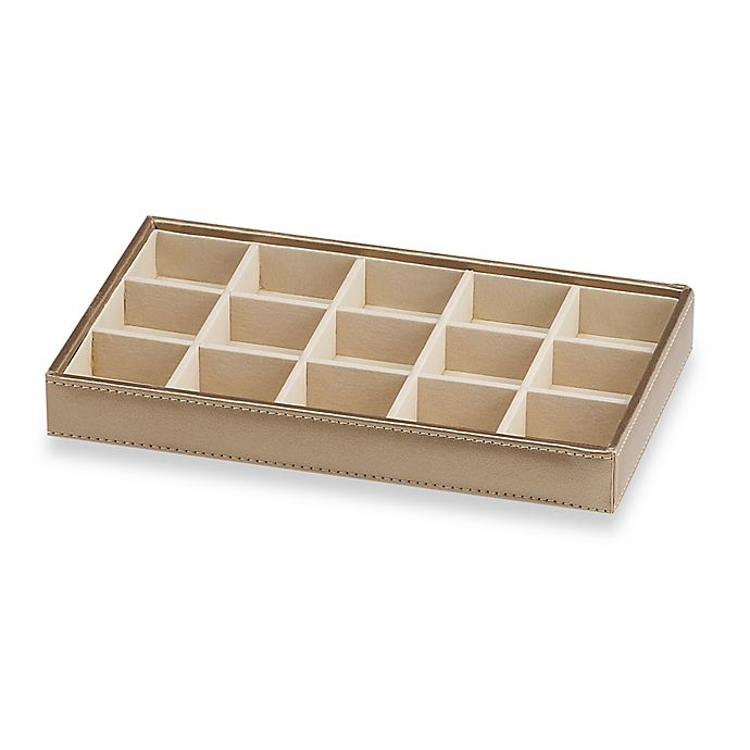 Alternate image 1 for Ampersand® Small 15-Compartment Stackable Jewelry Tray in Gold