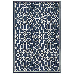Cabana Bay Seaside Scroll Indoor/Outdoor Rug in Navy/Grey