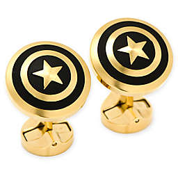 Marvel® Stainless Steel Black and Gold Captain America Cufflinks