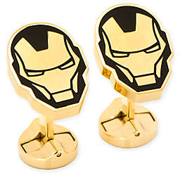 Marvel® Stainless Steel Black and Gold Iron Man Cufflinks