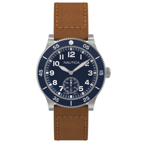 361c9e0adae Nautica® Houston Men s 44mm Watch in Stainless Steel with Tan Leather Strap
