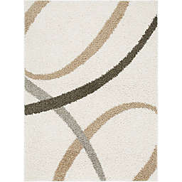 "Home Dynamix Synergy by Nicole Miller Abstract 5'2"" x 7'2"" Area Rug in White/Beige"