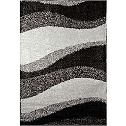 "Home Dynamix Synergy by Nicole Miller Wave 9'2"" x 12'5"" Area Rug in Grey"