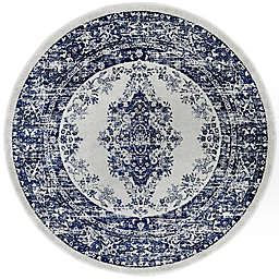 "Home Dynamix Vintage Distressed 6'6"" Round Area Rug in Grey/Blue"