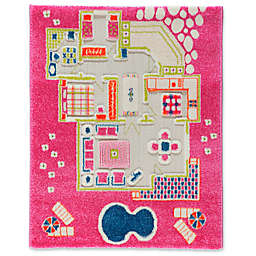 "IVI Playhouse 2'7"" x 3'8"" 3-Dimensional Play Rug in Pink"