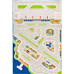 "IVI Mini City 3'3"" x 4'11"" 3-Dimensional Play Rug in Blue"