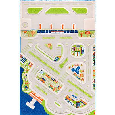 "IVI Mini City 3'3"" x 4'11"" 3-Dimensional Play Rug in Blue"