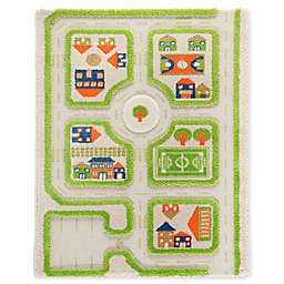 "IVI Traffic 2'7"" x 3'8"" 3-Dimensional Play Rug in Green"