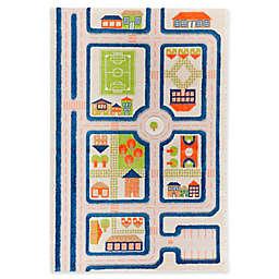"IVI Traffic 3'3"" x 4'11"" 3-Dimensional Play Rug in Blue"