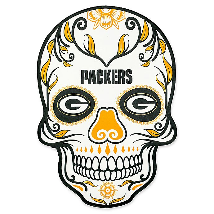 8ef7e5c9 NFL Green Bay Packers Outdoor Dia De Los Muertos Skull Decal | Bed ...