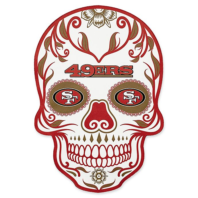 ede24912 NFL San Francisco 49ers Outdoor Dia De Los Muertos Skull Decal | Bed ...
