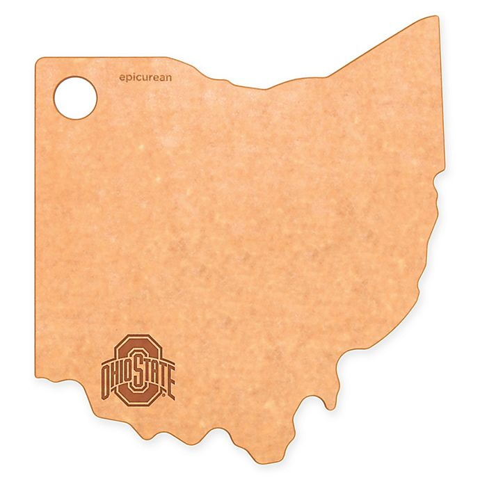 Alternate image 1 for Ohio State University Epicurean® State Shaped Logo Cutting Board