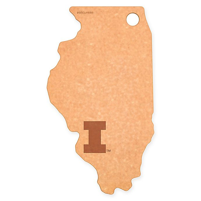 Alternate image 1 for University of Illinois Epicurean® State Shaped Logo Cutting Board