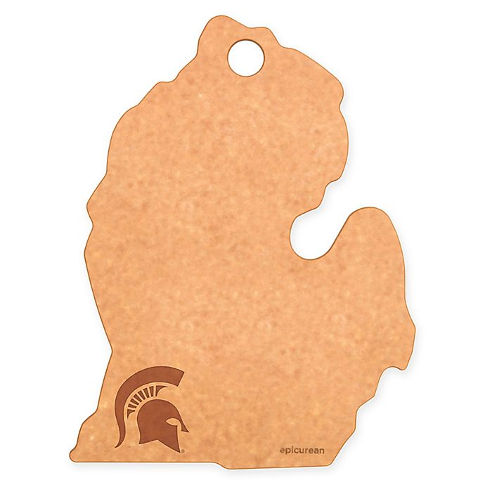 Alternate image 1 for Michigan State University Epicurean® State Shaped Logo Cutting Board